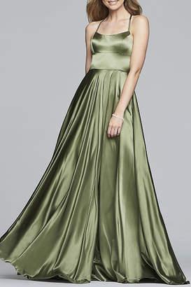 Faviana Long Halter Neck Charmeuse Dress