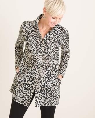 No Iron Cotton-Blend Animal-Print Pocket Tunic