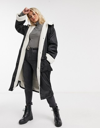 ASOS DESIGN borg lined maxi raincoat in black