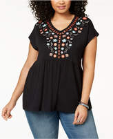Style&Co. Style & Co Plus Size Cotton Embroidered Babydoll Tunic, Created for Macy's
