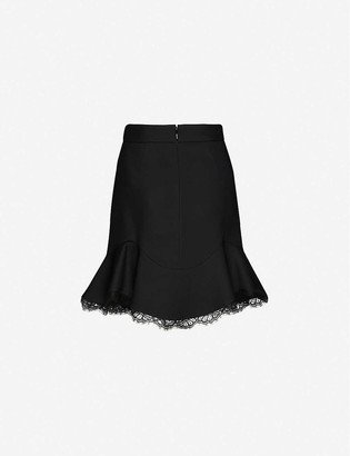 Alexander McQueen Lace-trimmed high-waisted wool-blend mini skirt