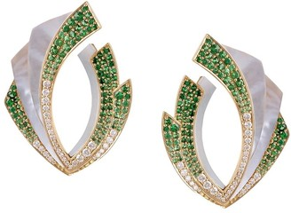 Ananya 18kt gold diamond tsavorite Mogra Light Blossom earrings