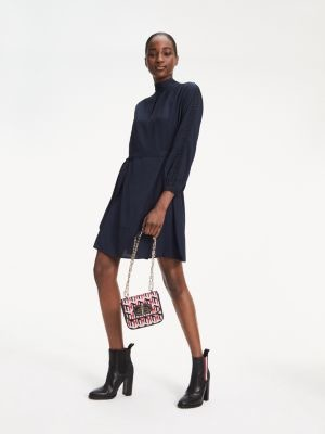 Tommy Hilfiger Viscose Jacquard Long Sleeve Dress