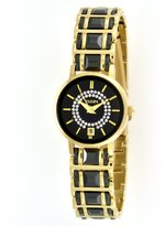 Elgin Women's EG353 Gold-tone Black Ceramic Crystal Accented Watch