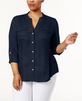 INC International Concepts Plus Size Knit-Panel Utility Shirt, Only at Macy's