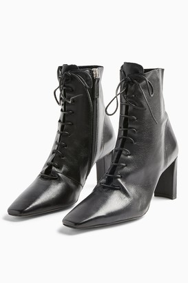Topshop Womens Matilda Black Leather Lace Up Boots - Black