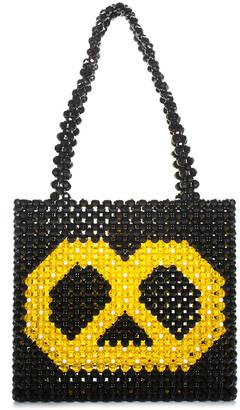 Susan Alexandra Black & Yellow Resin & Beads Beaded Pretzel Tote, Nwt