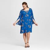 Xhilaration Women's Plus Size Floral Cross Front Dress Blue