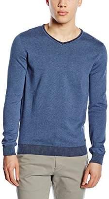Tom Tailor Men's Long Sleeve Jumper Blue Blau (indigo blue melange 6803)