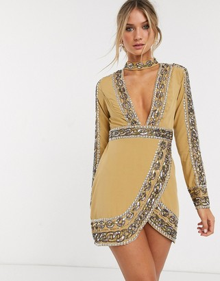 Asos Design DESIGN mini dress with plunge neck with chain embelishment-Multi