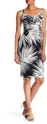 London Times Palm Spaghetti Strap Dress