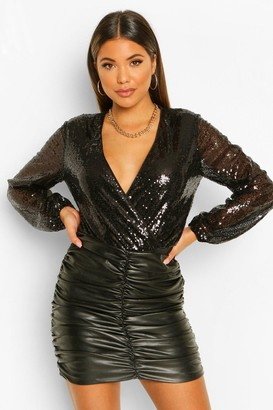 boohoo Sequin Long Sleeve Wrap Bodysuit