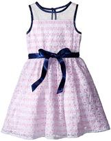 Us Angels Organza Strip Sleeveless Illusion Dress w/ Belt & Full Skirt (Toddler/Little Kids)