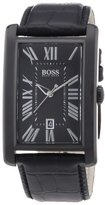 HUGO BOSS Black Dial Black Leather Mens Watch 1512709