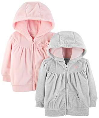 Carter's Simple Joys by Girls' 2-Pack Fleece Full Zip Hoodies