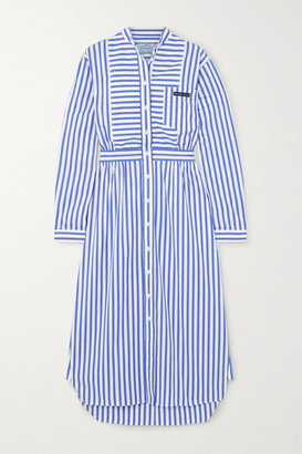 Prada Striped Cotton-poplin Midi Dress - Blue
