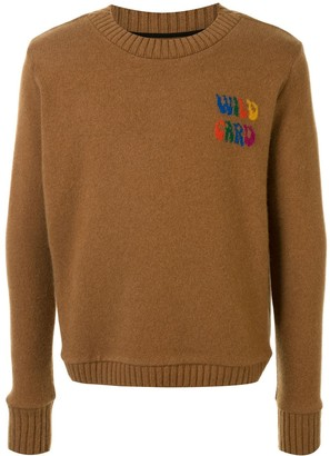 The Elder Statesman Wild Card cashmere slogan jumper