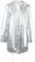 Paco Rabanne metallic parka coat - women - Cotton/Lamb Skin/Polyethylene/Polyurethane - 36
