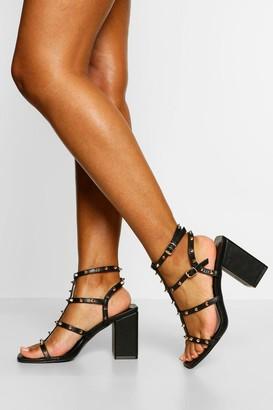 boohoo Stud Detail Caged Block Heels