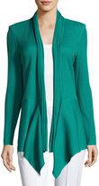 Misook Ribbed Asymmetric Jacket, Green
