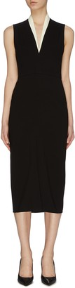 Victoria Beckham V neck drape sleeveless dress