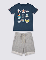Marks and Spencer 2 Piece T-Shirt & Shorts Outfit (3 Months - 5 Years)