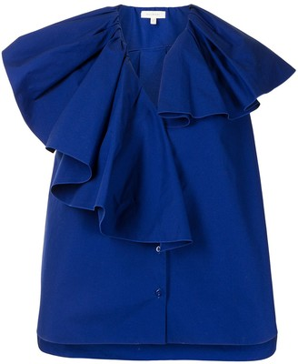DELPOZO Gathered Neckline Blouse