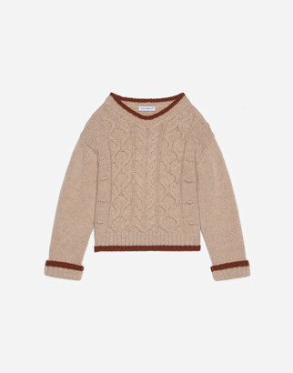 Dolce & Gabbana Cable-Knit Crew-Neck Pullover