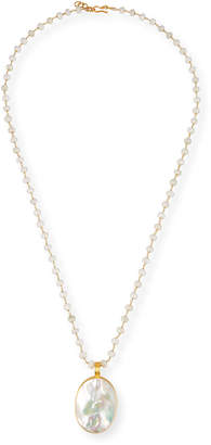 "Dina Mackney Beaded Chain & Mother-of-Pearl Pendant Necklace, 36""L"