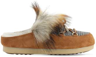 Moon Boot Far Side Sabot Loafers W/ Faux Fur