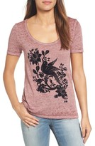 Lucky Brand Women's Flocked Bird Graphic Tee