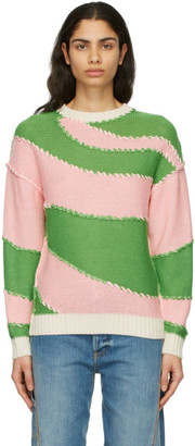 J.W.Anderson Green and Pink All Over Spiral Jumper
