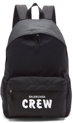 Balenciaga Crew-embroidered Nylon Canvas Backpack - Black White