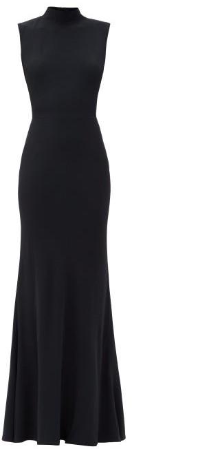 Alexander McQueen Cutout-back Draped Crepe Gown - Black