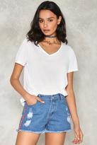 Nasty Gal nastygal Side With Me Embroidered Denim Shorts