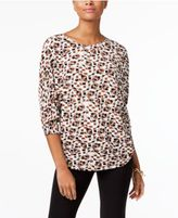 Alfani Printed Pleated Dolman-Sleeve Top, Created for Macy's