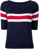 GUILD PRIME striped half sleeve sweater - women - Cotton/Rayon - 34