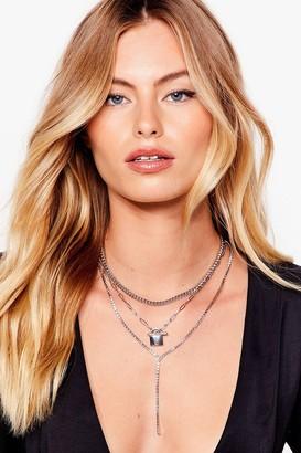 Nasty Gal Womens You're Padlock-in' Good Layered Necklace - Metallics - ONE SIZE, Metallics