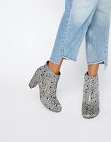 Miss Selfridge Jacquard Heeled Ankle Boot