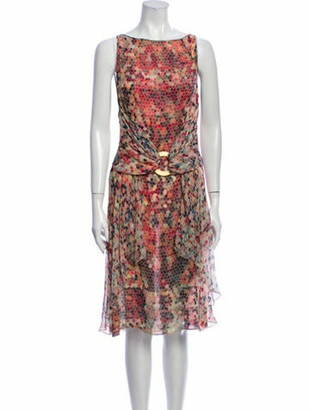 Valentino Printed Midi Length Dress Red