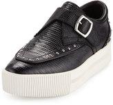 Ash Kony Bis Lizard-Embossed Platform Sneaker, Black