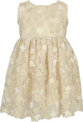Popatu Floral Butterfly Embroidered Tulle Dress
