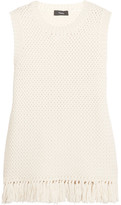 Theory Meenaly Tasseled Macramé Cotton-blend Top - Off-white