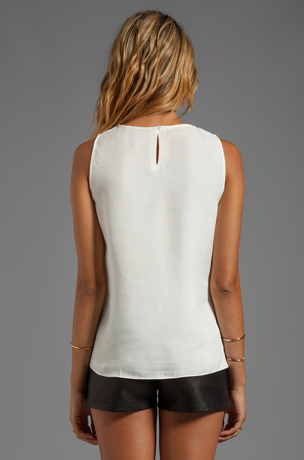 Halston Sleeveless Crew Neck Ruffle Drape Top