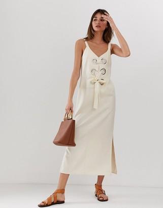 Asos Design DESIGN eyelet detail cami maxi dress in linen-Beige