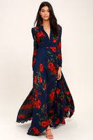 LuLu*s Blossom Buddy Red and Navy Blue Floral Print Maxi Dress