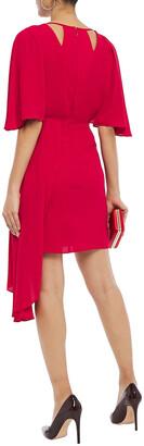 Halston Asymmetric Cutout Draped Crepe Mini Dress