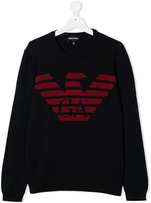 Emporio Armani Kids TEEN logo-print crew neck sweatshirt