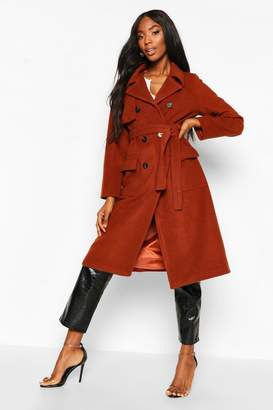 boohoo Double Breasted Trench Wool Look Coat