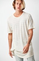 PacSun Napoleon Striped Linen Extended Length Scallop T-Shirt